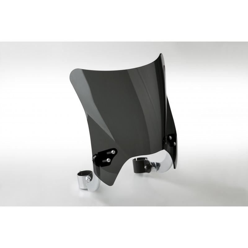 Czarna szyba motocyklowa Mohawk - mocowanie chrom typu B (44-51 mm)  / N2841-001