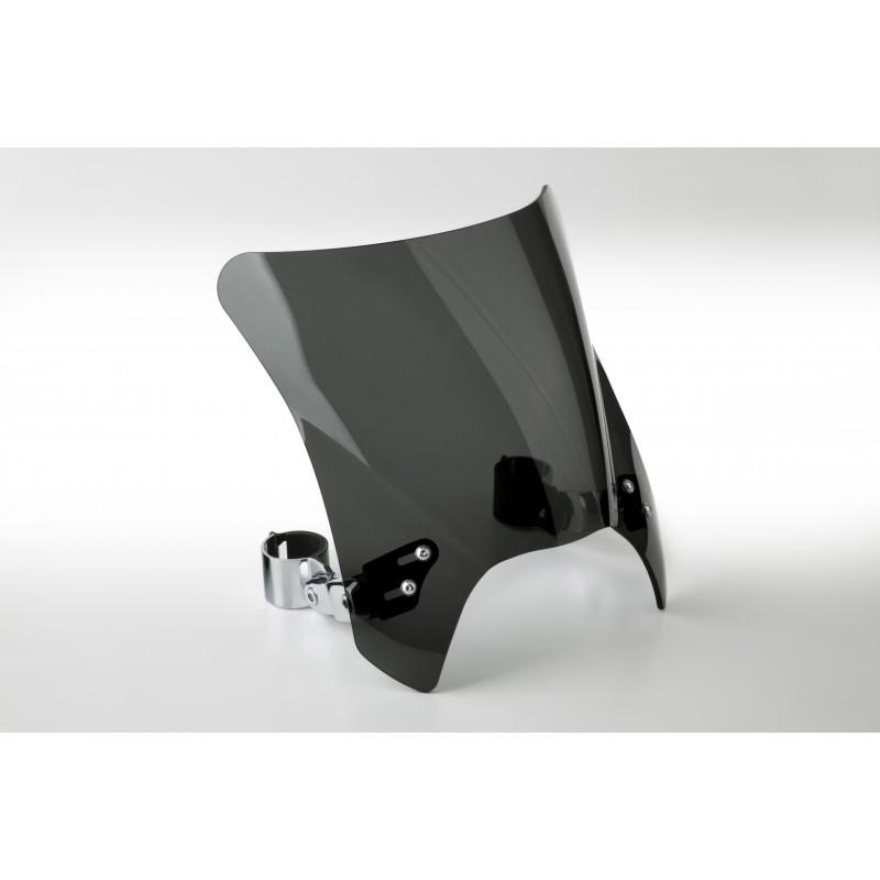 Czarna szyba motocyklowa Mohawk - mocowanie chrom typu A (52-56 mm) / N2835-001