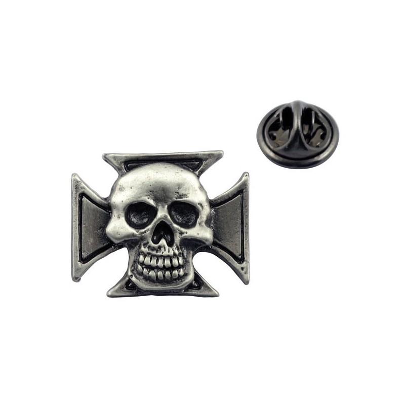 Krzyż maltański z czaszką 2 - przypinka motocyklowa / TOR 8084566