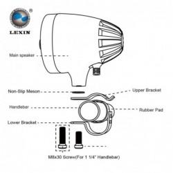 """Głośniki motocyklowe Lexin LX-S3 v2  3"""" 50 W  z radiem FM - główny"""