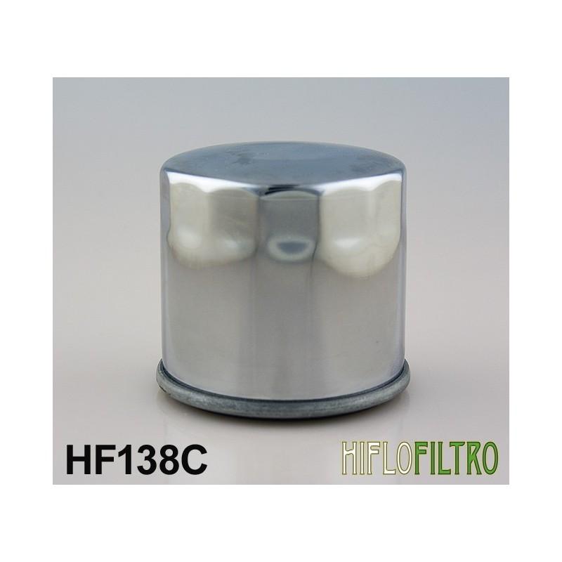 Chromowany motocyklowy filtr oleju Hiflo / HF138C