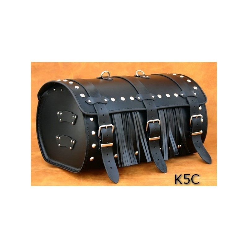 Średni centralny kufer motocyklowy ćwiekowany z frędzlami / SA-K5C