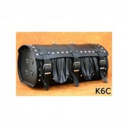 Motocyklowy kufer skórzany z ćwiekami i frędzlami / SA-K6C