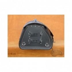 Skórzany kufer centralny z ozdobnymi białymi nićmi / SA-K26A - bok