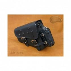 Czarna skórzana sakwa do motocykla H-D Sportster / SA-S56BAS - z dodatkową kieszonką