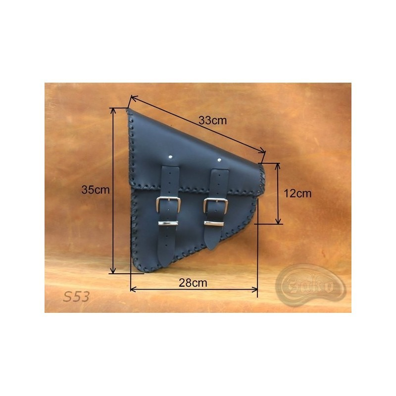 Czarna boczna sakwa do motocykla H-D Softail / SA-S53 - wymiary