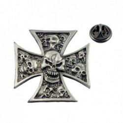 Krzyż maltański z czaszką - przypinka motocyklowa / TOR 8083972